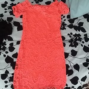 Brand New lace hot pink off the shoulder dress